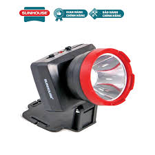Đèn pin đội đầu SUNHOUSE SHE-5032 cỡ trung, đen đỏ, sáng trắng - Bóng đèn  LED 3W siêu sáng sạc tích điện
