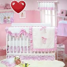 white pink ruffled baby nursery bedding