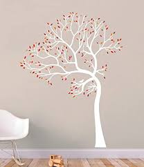 Amazon Com 6 Feet Tall Tree Wall Decal White Tree With Leaves In Red Orange And Marron Handmade