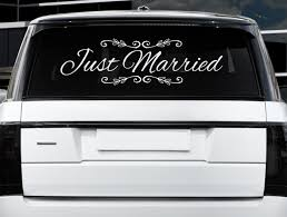 Just Married Car Sign 32x12 Wedding Decor Bride Groom Wedding Gift Just Married Window Clings Custom Wedding Just Married Just Married Car Wedding Window