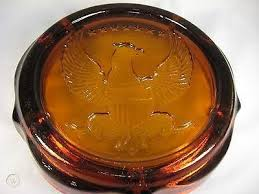 amber glass american eagle ashtray 10