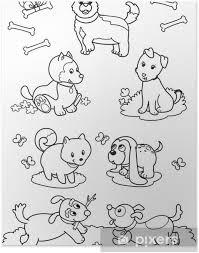 Poster Zeven Honden Leuke Kleurplaten Voor Kinderen Pixers We