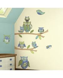 Amazing Deal On Owls Branches Pre Pasted Accent Wall Decal 4 Walls Color Blue