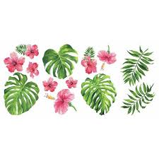 Roommates Tropical Hibiscus Flower Peel And Stick Wall Decals Rmk3904scs The Home Depot