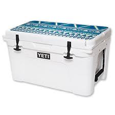 Mightyskins Protective Vinyl Skin Decal For Yeti Tundra 45 Qt Cooler Lid Wrap Cover Sticker Skins Blue Aztec Fitness Sports Outdoor Activities Camping Hiking Coolers Beverage Holders