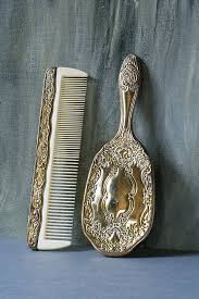 silver plated brush and comb set