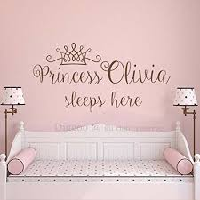 Princess Sleeps Here Wall Decal Crown Wall Sticker For Girls Name Princess Nursery Decor Princess Nursery Decor Personalized Wall Decals Girls Wall Stickers