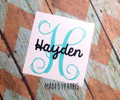 Letter With Name Vinyl Decal Monogram Letter Vinyl Decal Car Decal Yeti Decal Name Decal Personalized Decal Personalized Decals Letter Decals Vinyl Decals