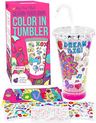 Amazon Com Purple Ladybug Tumbler For Girls Craft Kit With Color In Designs Bright Markers Bpa Free Kids Tumbler With Lid Straw Birthday Or Holiday Gift Idea For Girl