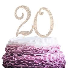 Buy Lingpar 20 Years Birthday Cake Topper New Best Crystal Rhinestone 20th Wedding Anniversary Or 20 Years Old Cake Topper Party Decoration Gold Online At Low Prices In India Amazon In