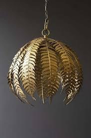 gold fern leaf pendant light copper