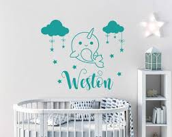 Boys Name Wall Decal Narwhal Vinyl Stickers Narwhal Etsy