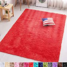 Amazon Com Pagisofe Red Fluffy Shag Area Rugs For Bedroom 5x7 Soft Fuzzy Shaggy Rugs For Living Room Carpet Nursery Floor Boys Room Dorm Rug Furniture Decor