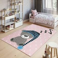 Bear Kids Rug Children Bedroom Carpet Baby Play Room Mat Cream Grey Brown Pastel Rugs Home Furniture Diy Plastpath Com Br