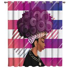 geometic african women window curtains