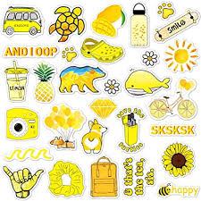 Amazon Com Anerza Vsco Stickers For Hydro Flask Vinyl Waterproof Water Bottle Stickers For Hydroflasks Laptop Phone Cute Trendy Aesthetic Yellow Stickers For Teens Vsco Girl Stuff 40 Pcs Computers Accessories