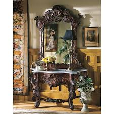 solid wood console table and mirror