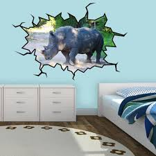 Vwaq Rhino Wall Decal Rhino Wall Art Hole In The Wall Safari Animal De