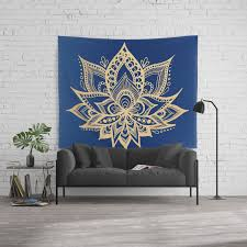 Gold And Blue Lotus Flower Mandala Wall Tapestry By Julieerindesigns Society6