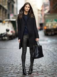 wear dark green leather pants for women