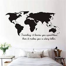 Amazon Com Cnedema Wall Decal Sticker Mural Vinyl Arts And Sayings Traveling It Leaves You Speechless Then It Makes You A Story Teller World Map For Living Room Home Kitchen