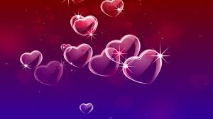 red purple glowing hearts love motion