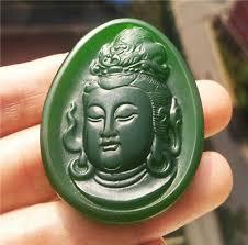 chinese hetian jade kwan yin necklace
