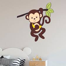 Monkey Climbing Cartoon Character Wall Art Decal Vinyl Sticker Girls Boys Room Bedroom Nursery Kindergarten House Fun Home Decor Stickers Wall Art Removable Vinyl Mural Decoration Adhesive 20x12 Inch Walmart Com