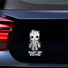 Baby On Board Cute Groot Car Truck Suv Pet Decal Sticker Decoration Universal Ebay