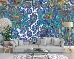 Persian Floral Art Contemporary Mediterranean Wall Mural Etsy