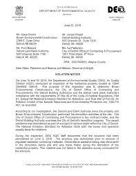 Mr. Jesse Brown Brown Environmental Construction 2389 E. Outer Drive  Detroit, Ml 48234 Ms. Pura Bascos June 22, 2016 Mr. James W