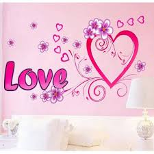 Dnven Pink Love Heart Flowers Wall Sticker Decal Lover Romantic Wedding Room Decor Wish