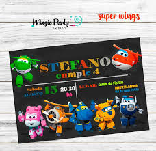 Tarjeta Invitacion Digital Cumpleanos Super Wings Pizarra 150