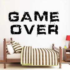 Game Over Wall Decal Vinyl Quotes Wall Sticker For Boy Bedroom Decor Accessories Wallpaper For Walls In Rolls Popalar C189 Wall Stickers Aliexpress