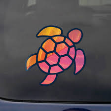 Sea Turtle Red Orange Leaf Sticker Decal Wall Tumbler Window Car Truck 2 5 In Ebay