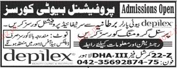 admission open in depilex beauty clinic