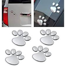 Amazon Com Lzlrun 3d Chrome Dog Paw Footprint Sticker Decal Auto Car Emblem Decal Decoration Silver Automotive