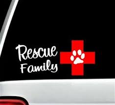 Rescue Family Cross And Dog Paw Decal Sticker For Car Window Bg 203 Pet Gift Art Ebay
