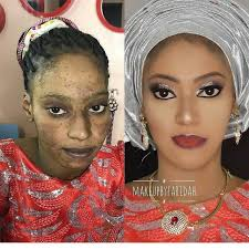 black makeup before and after