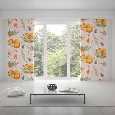 2020 Home Decor Fox Cartoon Printed Curtains Yellow For Kids Bedroom Mrkoalahome