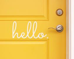 Hello Vinyl Door Decal Hello Front Door Decals Hello Office Etsy