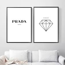 Deer Sea Diamond Feather Prada Wall Art Canvas Painting Nordic Posters And Prints Animal Wall Pictures For Living Room Decor Painting Calligraphy Aliexpress