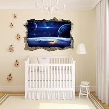 3d Window Outer Space Galaxy Planet Wall Sticker For Kids Children Roo Space Toy Store