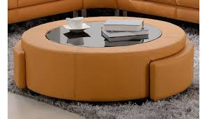 tara modern orange leather sectional sofa