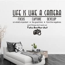 Life Is Like A Camera Sticker Pvc Applique Window Art Wall Decal Text Wall Stickers 57 29 7 Light Brown Diario Shop