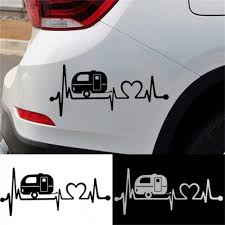 Auto Parts And Vehicles Funny Heartbeat Car Sticker Camper Travel Trailer Hiker Auto Decal Sticker Car Truck Graphics Decals