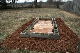 raised bed with concrete blocks