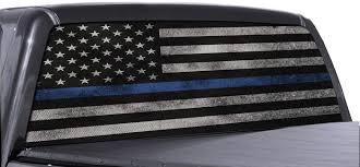 Amazon Com Fgd Brand Truck Rear Window Wrap Thin Blue Line American Flag Perforated Vinyl Decal Automotive