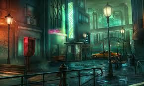 digital art night town wallpapers hd