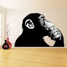Thinking Monkey Wall Sticker Banksy Street Art Print Etsy Monkey Wall Stickers Sticker Wall Art Monkey Wall